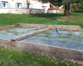 Jardin d'Assainissement Aquatiris tout juste planté